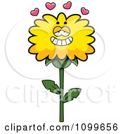 Clipart Dandelion Flower Character In Love Royalty Free Vector Illustration