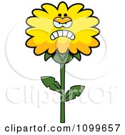 Clipart Mad Dandelion Flower Character Royalty Free Vector Illustration