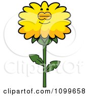 Clipart Sleeping Dandelion Flower Character Royalty Free Vector Illustration by Cory Thoman