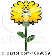 Clipart Depressed Dandelion Flower Character Royalty Free Vector Illustration by Cory Thoman