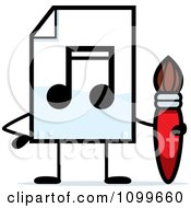 Clipart MP3 Music Document Mascot Holding A Paintbrush Royalty Free Vector Illustration by Cory Thoman
