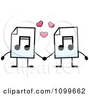 Clipart MP3 Music Document Mascots Holding Hands Royalty Free Vector Illustration by Cory Thoman