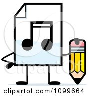 Clipart MP3 Music Document Mascot Holding A Pencil Royalty Free Vector Illustration by Cory Thoman