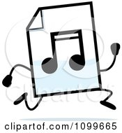 Clipart MP3 Music Document Mascot Running Royalty Free Vector Illustration by Cory Thoman