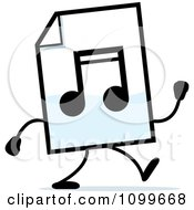 Clipart MP3 Music Document Mascot Walking Royalty Free Vector Illustration by Cory Thoman