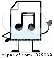 Clipart MP3 Music Document Mascot Waving Royalty Free Vector Illustration by Cory Thoman