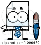 Clipart Business Document Mascot Holding A Paintbrush Royalty Free Vector Illustration