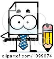 Clipart Business Document Mascot Holding A Pencil Royalty Free Vector Illustration