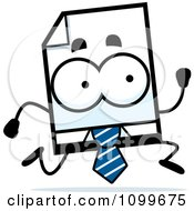 Clipart Business Document Mascot Running Royalty Free Vector Illustration