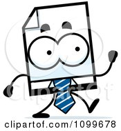 Clipart Business Document Mascot Walking Royalty Free Vector Illustration