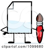 Clipart Blank Document Mascot Holding A Paintbrush Royalty Free Vector Illustration