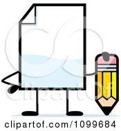Clipart Blank Document Mascot Holding A Pencil Royalty Free Vector Illustration by Cory Thoman