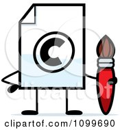 Clipart Copyright Document Mascot Holding A Paintbrush Royalty Free Vector Illustration