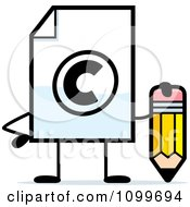 Clipart Copyright Document Mascot Holding A Pencil Royalty Free Vector Illustration