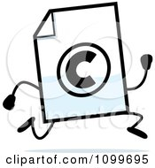 Clipart Copyright Document Mascot Running Royalty Free Vector Illustration