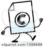 Clipart Copyright Document Mascot Walking Royalty Free Vector Illustration