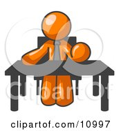 Orange Businessman Seated At A Desk Instructing Employees Clipart Illustration by Leo Blanchette