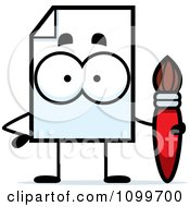 Clipart Document Mascot Holding A Paintbrush Royalty Free Vector Illustration