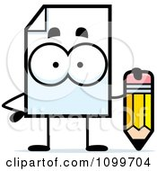 Clipart Document Mascot Holding A Pencil Royalty Free Vector Illustration