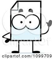 Clipart Document Mascot Waving Royalty Free Vector Illustration by Cory Thoman