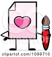 Clipart Love Document Mascot Holding A Paintbrush Royalty Free Vector Illustration