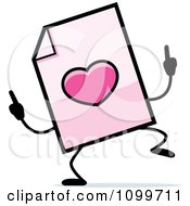 Clipart Love Document Mascot Doing A Happy Dance Royalty Free Vector Illustration