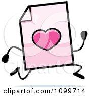 Clipart Love Document Mascot Running Royalty Free Vector Illustration