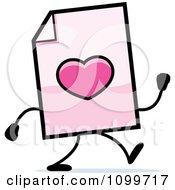Clipart Love Document Mascot Walking Royalty Free Vector Illustration