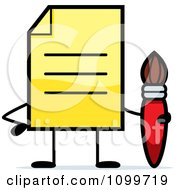Clipart Yellow Note Document Mascot Holding A Paintbrush Royalty Free Vector Illustration