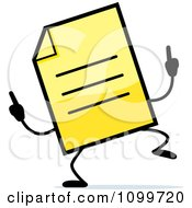 Clipart Yellow Note Document Mascot Doing A Happy Dance Royalty Free Vector Illustration