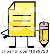 Clipart Yellow Note Document Mascot Holding A Pencil Royalty Free Vector Illustration