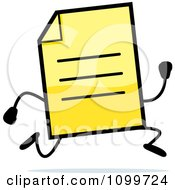 Clipart Yellow Note Document Mascot Running Royalty Free Vector Illustration