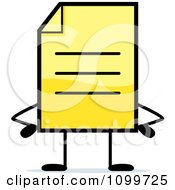 Clipart Yellow Note Document Mascot With Hands On Hips Royalty Free Vector Illustration
