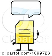 Clipart Yellow Note Document Mascot Talking Royalty Free Vector Illustration