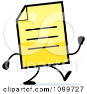 Clipart Yellow Note Document Mascot Walking Royalty Free Vector Illustration