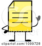 Clipart Yellow Note Document Mascot Waving Royalty Free Vector Illustration