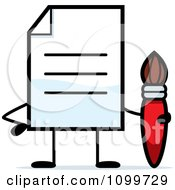 Clipart Note Document Mascot Holding A Paintbrush Royalty Free Vector Illustration