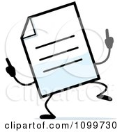 Clipart Note Document Mascot Doing A Happy Dance Royalty Free Vector Illustration