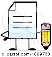 Clipart Note Document Mascot Holding A Pencil Royalty Free Vector Illustration