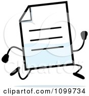 Clipart Note Document Mascot Running Royalty Free Vector Illustration