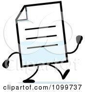 Clipart Note Document Mascot Walking Royalty Free Vector Illustration
