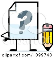 Clipart Help Document Mascot Holding A Pencil Royalty Free Vector Illustration