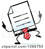 Clipart Business Document Mascot In A Red Tie Doing A Happy Dance Royalty Free Vector Illustration