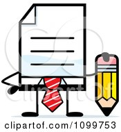 Clipart Business Document Mascot In A Red Tie Holding A Pencil Royalty Free Vector Illustration