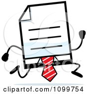 Clipart Business Document Mascot In A Red Tie Running Royalty Free Vector Illustration