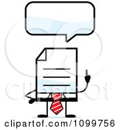 Clipart Business Document Mascot In A Red Tie Talking Royalty Free Vector Illustration