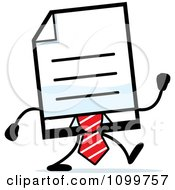 Clipart Business Document Mascot In A Red Tie Walking Royalty Free Vector Illustration