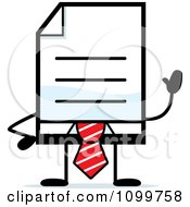 Clipart Business Document Mascot In A Red Tie Waving Royalty Free Vector Illustration