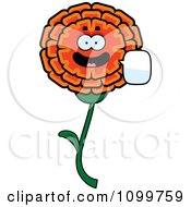 Clipart Talking Marigold Flower Character Royalty Free Vector Illustration