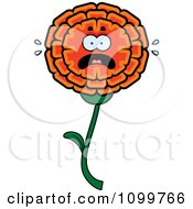 Clipart Scared Marigold Flower Character Royalty Free Vector Illustration by Cory Thoman